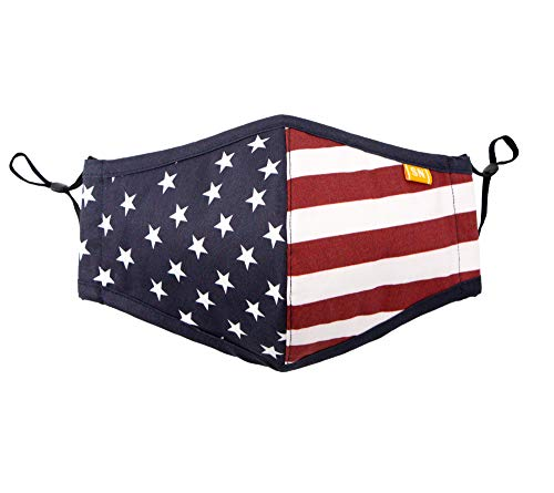 Spring Notion Reusable Washable USA American Flag Cotton Cloth Face Mask for Adults and Kids Red White Blue L