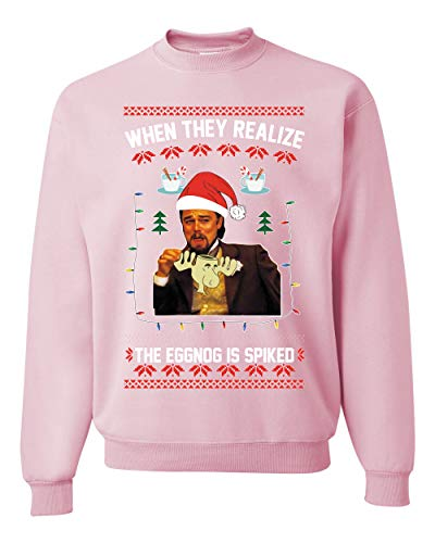 Leo Laughing Dank Meme When they Realize the Eggnog is Spiked Ugly Christmas Sweater Unisex Crewneck Graphic Sweatshirt, Light Pink, Medium