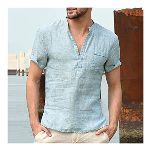 WanXingY 2021 Camisa de Pueblo de algodón y cáñamo de Verano, Camisa de Polo Casual y Transpirable (Color : Azul, Tamaño : 3XL)