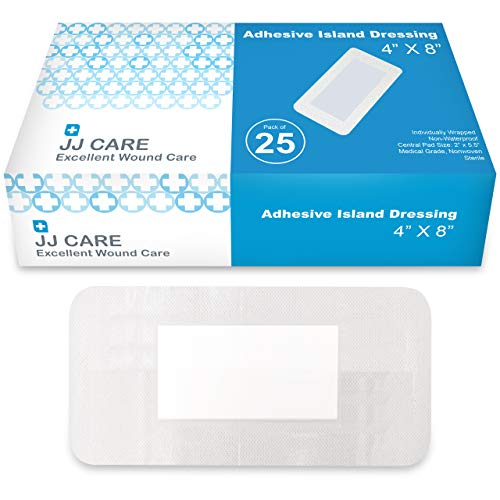 "JJ CARE [Pack of 25] Adhesive Island Dressing 4"" x 8"", Sterile & Breathable Bordered Adhesive Gauze Bandages Pads, Ultra Absorbent Wound Dressing, Latex Free, Individually Wrapped Gauze Dressing"