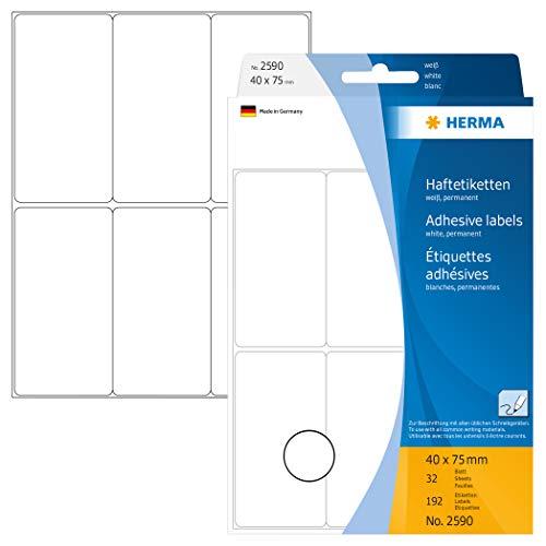 Herma 2590 - Etiquetas multiuso, 40x75 mm papel mate, 192 unidades, color blanco