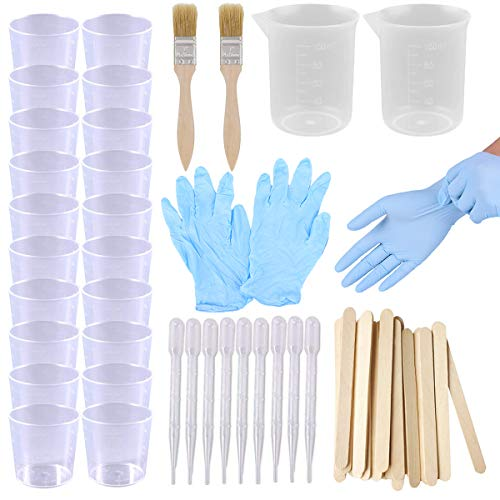 Buytra Epoxy Resin Mixing Kit Including 2oz Resin Mixing Cups, 100ml Plastic Measuring Cups, Wooden Stir Sticks, Paint Brushes, Gloves, 3ml Pipettes for Mixing Paint, Stain, Epoxy, Resin, Casing Mold