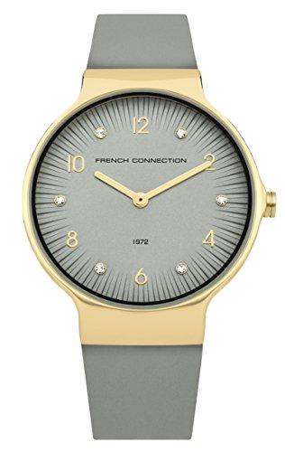 French Connection dames datum klassiek kwarts horloge met lederen armband FC1301EG