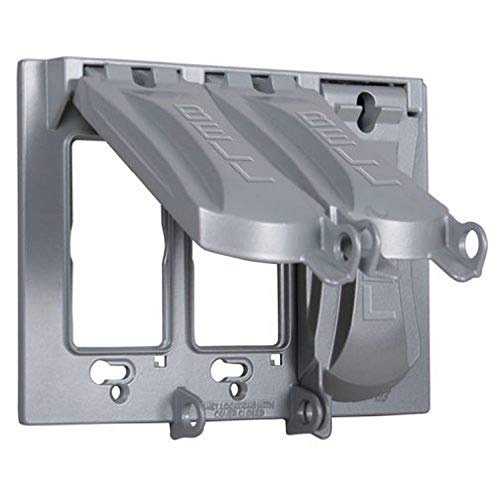 Hubbell-Bell MX3050S Weatherproof Metallic Device Cover with 125-in-1 Configurations and Three Gang, Vertical, Gray