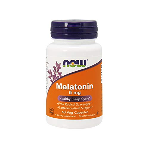 NOW Supplements, Melatonin 5 mg, Free Radical Scavenger*, Healthy Sleep Cycle*, 60 Veg Capsules
