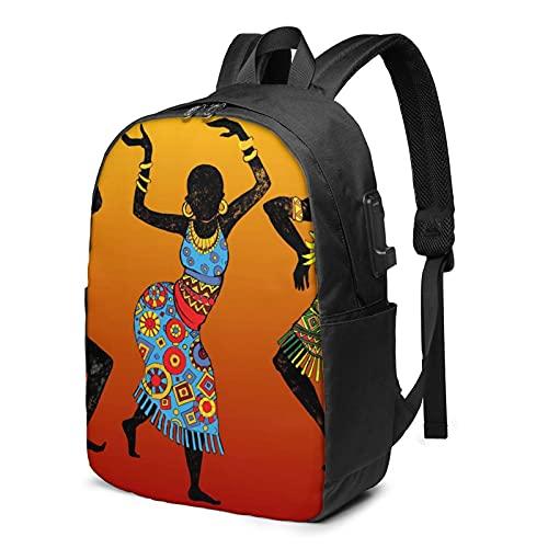 Mochila de mujer africana bailarina, mochila de viaje con puerto de carga USB para hombres y mujeres de 17 pulgadas, ver imagen, Talla única,