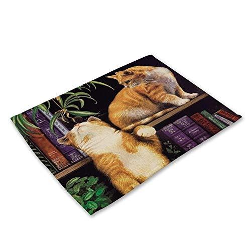 DaTun648 1 Stücke Nette Katze Blumenmuster Tischset Esstisch Matten Baumwolle Leinen Drink Coaster Western Pad Tasse Matte 42 * 32 cm Wohnkultur (Color : O)