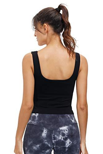 Disbest Crop Tops Damen U-Ausschnitt ärmellos Sommer Bauchfreie Oberteile Yoga Fitness BH Stretch Crop Tank Tops (Schwarz, M)