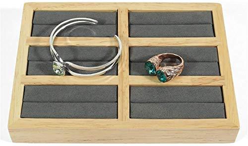 Multifunctional Caja de almacenamiento de joyas de madera maciza creativa 6 pulseras de joyería de la bandeja de la pantallas Pulsera de la pantalleta Joyería Joyería (diseño: gris, Tamaño: 18x13x2.6c
