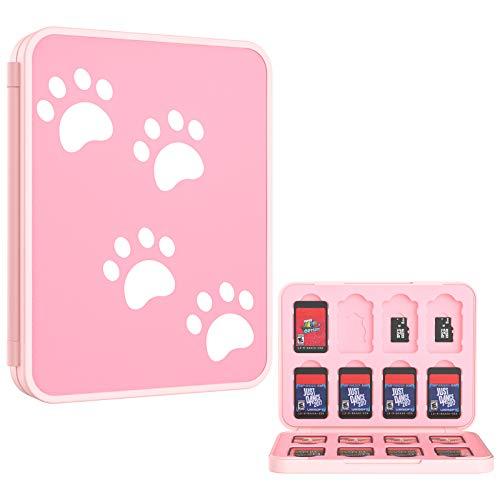 MoKo Funda para Almacenamiento para Switch Juegos Compatible con Nintendo Switch & Switch Lite & Switch OLED, Organizador de 16 Tarjetas de Juego Impermeable Estuche Caja de Tarjeta - Gato Rosa