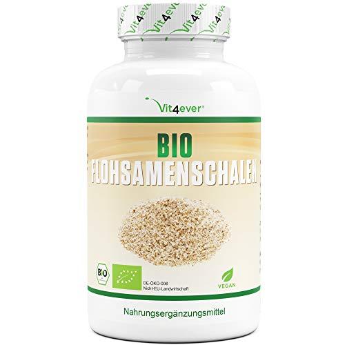 Bio Flohsamenschalen - 365 vegane Kapseln - 3000 mg je Tagesdosis - Premium: 100% Bio Flohsamen aus Indien, 99+% Reinheit, fein gemahlen - Laborgeprüft - Vegan - Nachhaltig angebaut - Ohne Zusätze