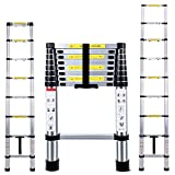 Telescopic Ladder 2.6M Multi-Purpose Folding Aluminium Telescoping Ladder Extendable Portable Loft Ladder Foldable Ladder with EN131 and CE Standard (8.5FT/2.6M)