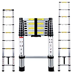 2.6m / 8.5ft Telescopic style climb extendable ladder, Loading Capacity : 330Lbs(150kg), weighs 14lbs(6.5kg) 9step Made To Last: Constructed with aluminium alloy, extremely durable, corrosion resistant and rust resistant.* Folded size: 74 x 48 x 8 cm...