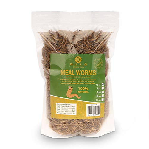 diig Non-GMO Dried Mealworms - Treats for Birds Chickens Hedgehog Hamster Fish Reptile Turtles, 8 oc