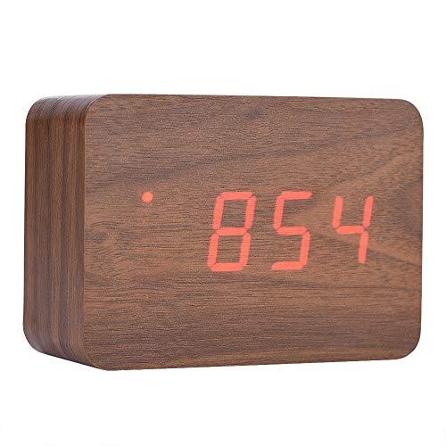 Exliy Despertador Escritorio Digital Reloj Despertador de Madera actualizado con LED Temperatura...