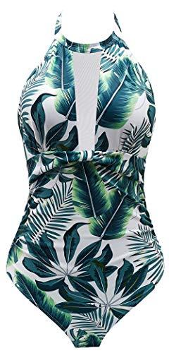 B2prity Badeanzug Damen Bauchweg Einteiler Monokini Figurformend Push Up High Neck Bademode Mit Netz Stoffeinsatz Gaze (Druckblume5, M(EU 36-38))