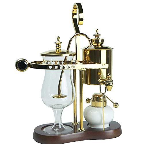 CENPEN Vakuum-Kaffeemaschine Kaffee Appliance Syphon Pot Kaffeekanne Syphon Kaffeemaschine Set Hausgemachte Kaffeeutensilien Küchengeräte (Farbe: Gold, Größe: 11x26x36cm)