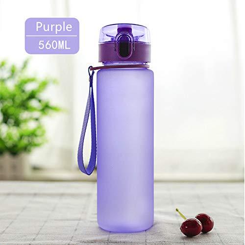 Botella de Agua de plástico portátil de 850 ml / 560 ml / 400 ml, Botella para Beber con agitador de Deportes al Aire Libre con Cuerda, protección del Medio Ambiente - 560 ml púrpura