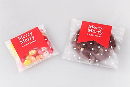 White Dots Self Adhesive Plastic Cookie Bags For Gift Giving 200 Bags+200 Thank You Labels, 4x4 inch (L)