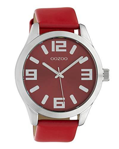 Oozoo Damenuhr mit Lederband Classic Color Line XL 47 MM Rot C10237