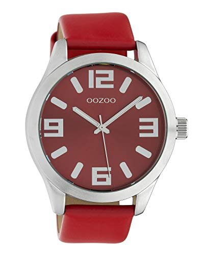 Oozoo Damenuhr mit Lederband Classic Color Line XL 47 MM Rot C10237
