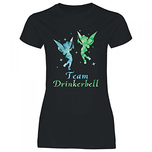 Royal Shirt a63 Damen T-Shirt Team Drinkerbell | Malle JGA Alkohol feiern Fee Party Mädels Girly, Größe:L, Farbe:Black