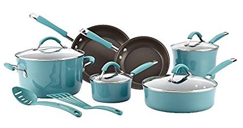 12 Piece Premium Cookware Set Featured on Food Network Nonstick Hard Porcelain Enamel, Agave Blue,