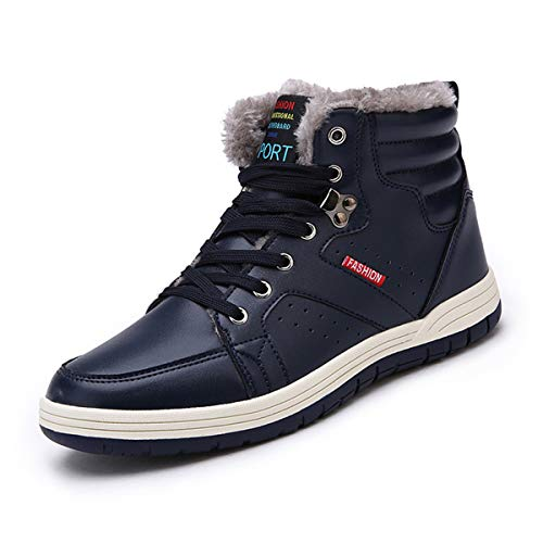 Lauwodun Men's Snow Boots Waterproof High Top Sneakers Fully Fur Winter Shoes for Outdoor/Sports/Casual/Daily(Blue 42)