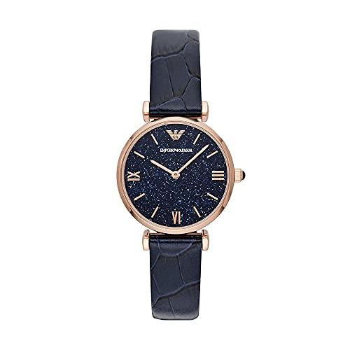 Emporio Armani - Reloj de Acero Inoxidable de Dos Manos en Tono Dorado Rosa para Mujer, AR11424