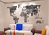 Toprate(TM) English Words World Map Wall Art Decal Sticker Vinyl 45.5' H x 75' W For Parlour Television Walls Home Decal