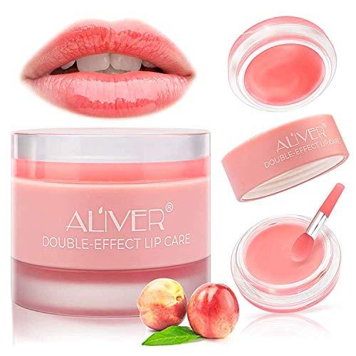 Mascarilla para dormir con péptido de colágeno, bálsamo labial de melocotón, humectante de noche para el cuidado de la piel de los labios y reparaciones de tratamiento de labios (melocotón)