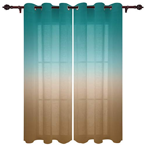 Fahome Blackout Curtains Thermal Insulated Noise Reducing for Bedroom, Ombre Brown Turquoise Cyan Gradient Room Darking Window Curtain 40 x 84 inches Long 2 Panels