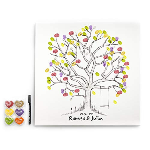 codiarts. Leinwand für Fingerabdrücke DIY Hochzeit, Jubiläum, Familienfeier, Party, Geburtstag als Gästebuch inkl. Stempelkissen und Stift - Motiv Baum mit Schaukel - 50x50cm, Weddingtree