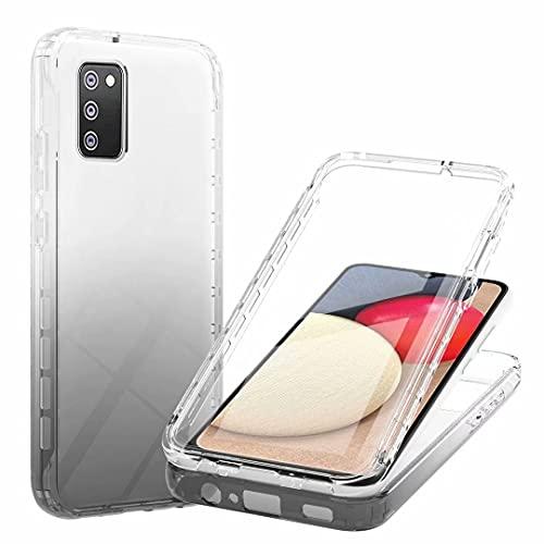 WJMWF Compatible con Funda Samsung Galaxy A02S Incorporado Protector de Pantalla Transparente Degradada Suave TPU Caso 3 en 1 360° Todo Rounp Anti-Shock Cubierta-Negro