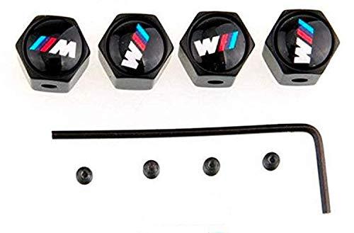 TGH (M-VB) Kit de 4 Tapones de Aluminio Negros para válvulas con Logo M Motorsport (Sistema Antirrobo)