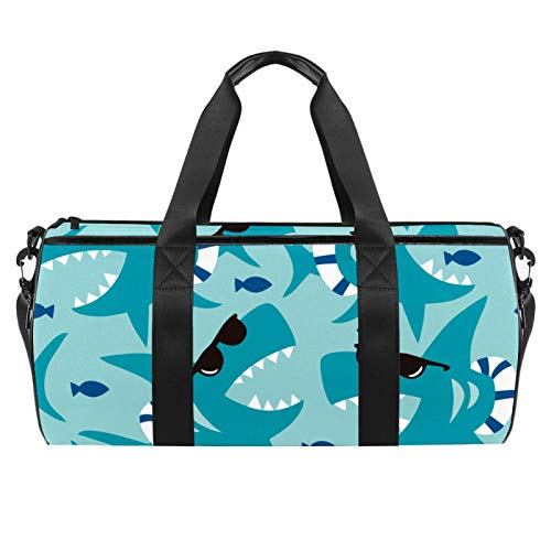 LAZEN Hombro Handy Sports Gym Bags Travel Duffle Totes Bag para hombres, mujeres, gafas de sol azules, tiburón
