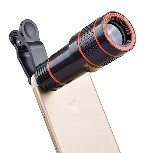 BYLKO Universal 12X Zoom Mobile Phone Telescope Lens with Adjustable Clip Holder DSLR Blur Background for iPhone and All Smartphone