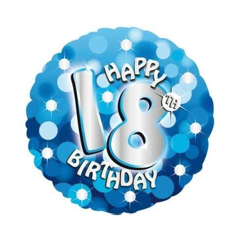 Helium ballon 18 verjaardag met ballongas gevuld serie lichtblauw 45cm