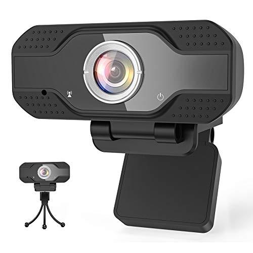 Mksutary Webcam 1080P Full HD con Micrófono, USB PC Web Camera Portátil con Trípode, Streaming Cámara Reducción de Ruido para Mac Windows Videollamadas Conferencias Juegos Grabación