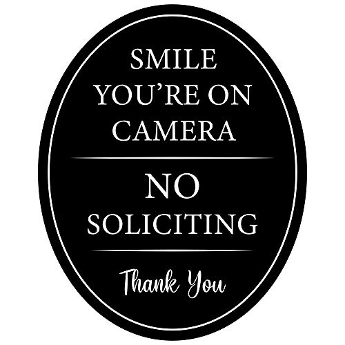 """4"""" x 5"""" Aluminum Oval Classy Sign: Full adhesive sticker back Outdoor or indoor use - Front door, window, house / home business / office - Smile You're on Camera & No Soliciting Quality Black metal"""