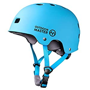 OutdoorMaster Skateboard Cycling Helmet - ASTM & CPSC Certified Two Removable Liners Ventilation Multi-sport Scooter Roller Skate Inline Skating Rollerblading for Kids, Youth & Adults - L - Blue