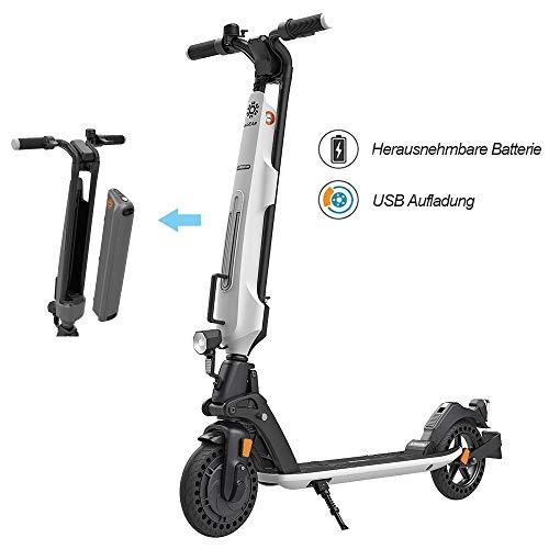 Elektroroller für Erwachsene, 7.5Ah Aluminium Abnehmbare Batterie, 350W Motor bis zu 20km/h, Faltbarer Elektroroller Tragbar & Leichtes Design, 8 Zoll Vollgummireifen E-Scooter mit Straßenzulassung