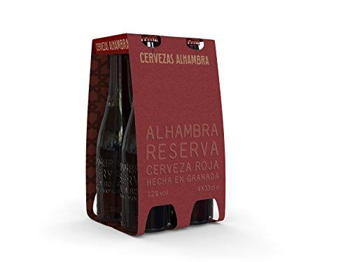 Alhambra Reserva Roja Cerveza Bock Lager, 7.2 % Volumen de Alcohol - Pack de 4 x 33 cl