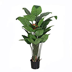 AMERIQUE Unique & Gorgeous Large Bird of Paradise Flower Real Touch Technology, Orange/Green, 6 Feet with Giant Leaves and Sturdy Stems Artificial Tree Plant, 6′