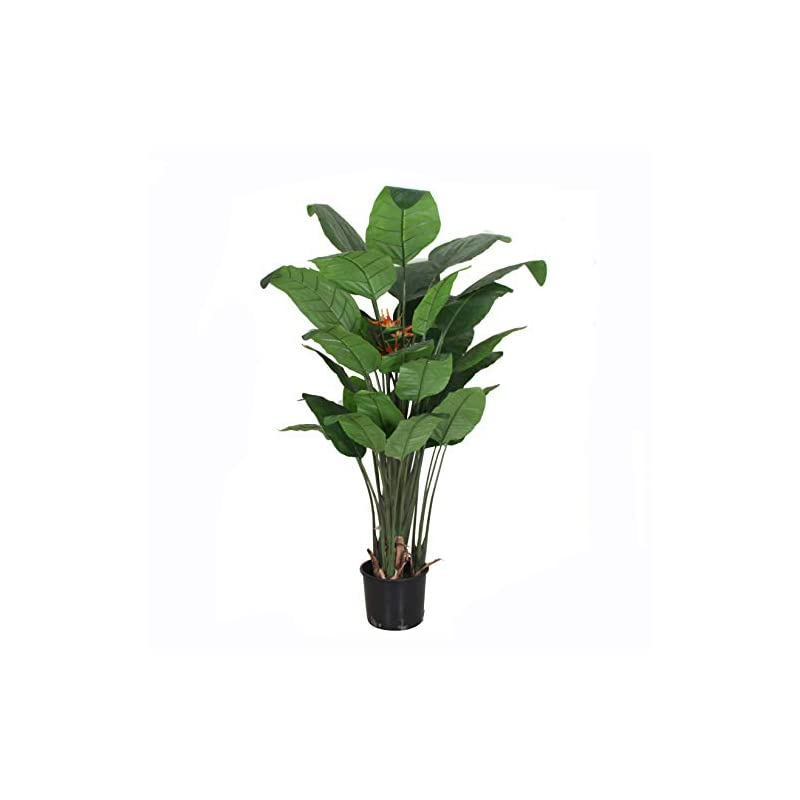 silk flower arrangements amerique unique & gorgeous large bird of paradise flower real touch technology, orange/green, 6 feet with giant leaves and sturdy stems artificial tree plant, 6'