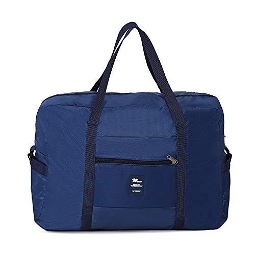 BAGZY Plegable Bolsa de Viaje Equipaje Impermeable Tote Bolsa Super Bolsa de Lona Ligera Bolsas de Deporte Fitness Mujeres Hombres Fin de Semana Bolsa de la Compra Organizador Azul