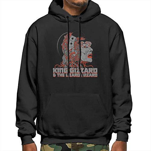Tengyuntong King Gizzard and Lizard Wizard Men's Hoodie, Casual Hooded Drawstring Sweatshirts with Pocket - Black - XX-Large