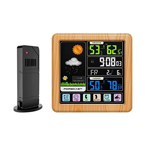 LICHUXIN Wetterstation Mondphase Datumsanzeige Snooze-Sensor Touch-Wettervorhersage Temperatur und Luftfeuchtigkeit überwacht Hintergrundbeleuchtung EIN-klick-Tipps Sperre Komfort,Woodgraincolor