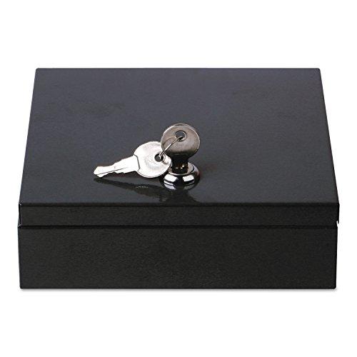 Productos universales de la oficina – Caja de seguridad de acero que ahorra espacio, 6 3/4' x 6 7/8' x 2', negro (UNV69000) (69000)