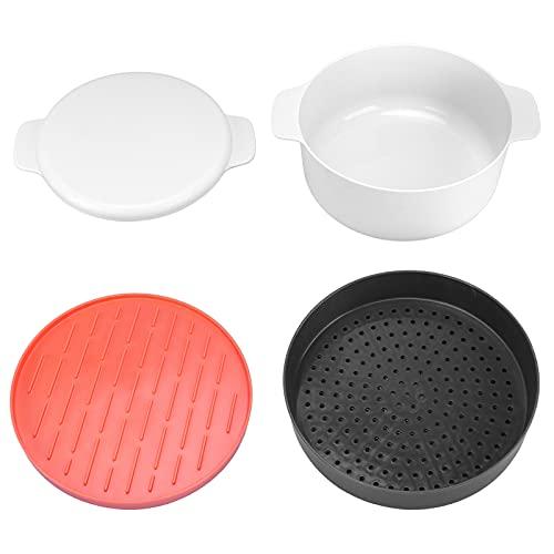 Liujaos Olla de Vapor de arroz, Caja de Horno microondas Redonda multifunción, Cocina de plástico para el hogar apilada para microondas